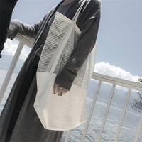 2017 New Fashion Trend Mesh Hollow Foldable Reusable Shopping Bags Canvas Shoulder Bag Large Capacity Shopping
