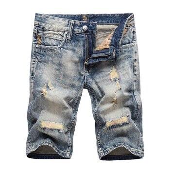 цена на Fashion Classical Men Short Jeans Retro Wash Embroidery Ripped Jeans Designer Denim Shorts Streetwear Summer Jeans Shorts Hombre