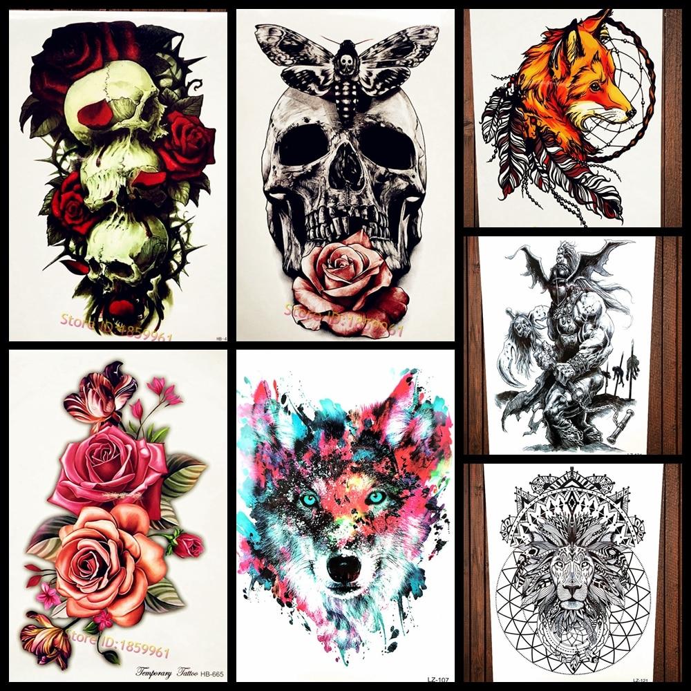 Skull Henna Tattoo: Large Black Skull Waterproof Temporary Tattoo Men Body Art