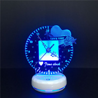 Novelty Time Clock 3D Led Table Lamp Multi Color USB Touch Remote Control Led Night Light