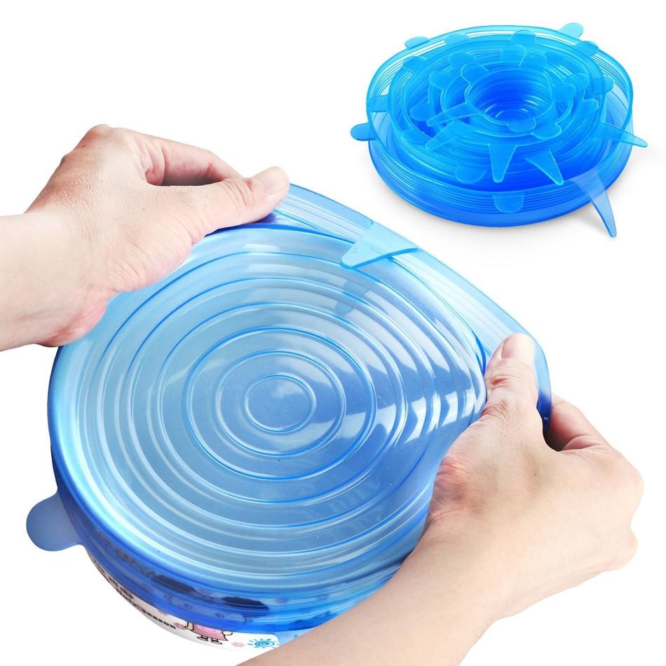 6 piezas silicona reutilizable alimentos frescos mantener sellado tapa de estiramiento recipiente de cocina derrame tapa tapón