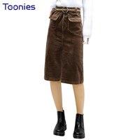 New Winter Vintage Straight Skirts High Waist Loose Midi Skirts Front Split Solid Elegant Skirt Slim