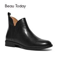 BeauToday Ботинки Челси Для женщин ручной эластичный круглый носок натуральной телячьей кожи Одежда высшего качества бренд леди обувь ботильон