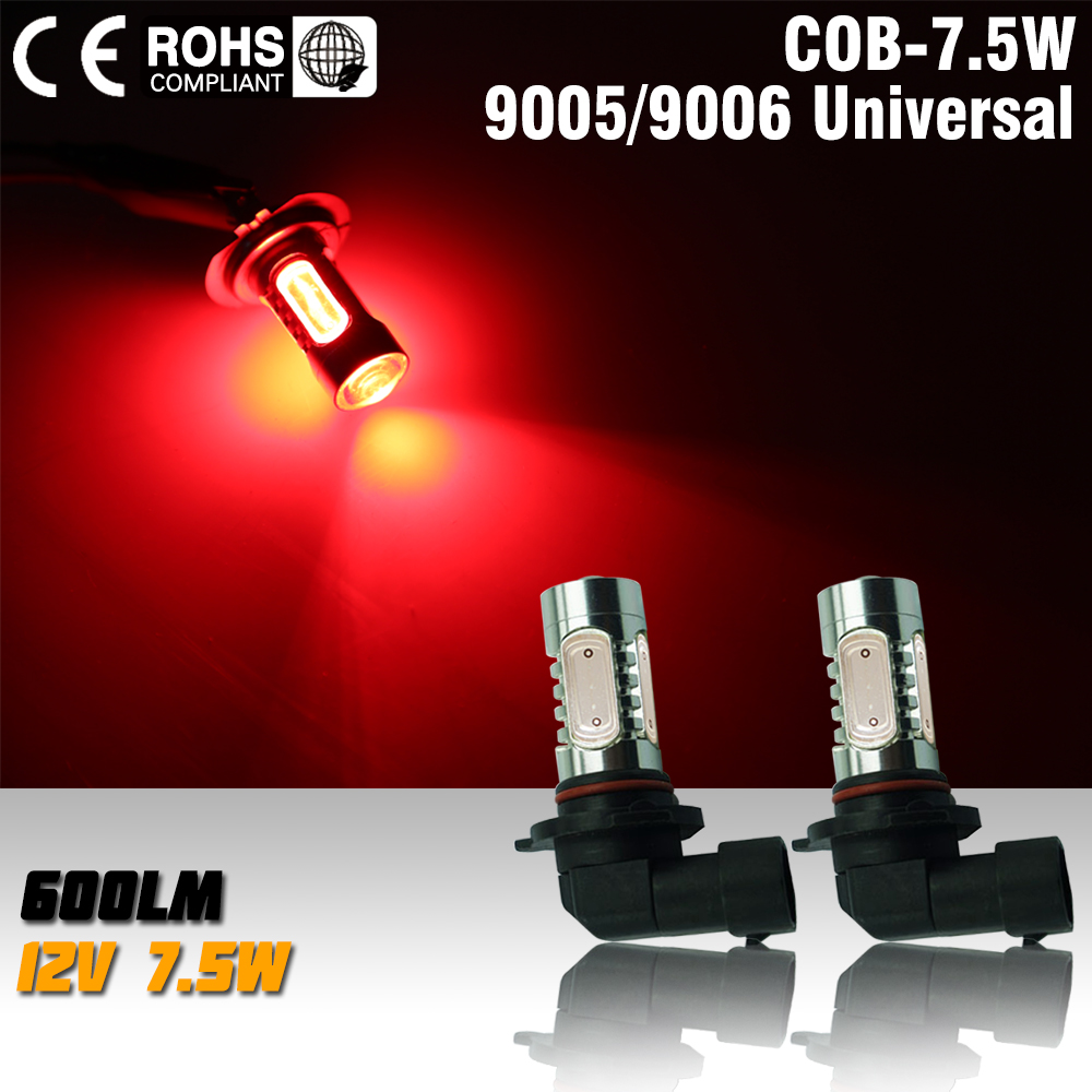 2Pcs/Lot High Power 9005/HB3 7.5W COB LED Bulb Car Auto Light Source Projector DRL Driving Fog Headlight Lamp 12V red