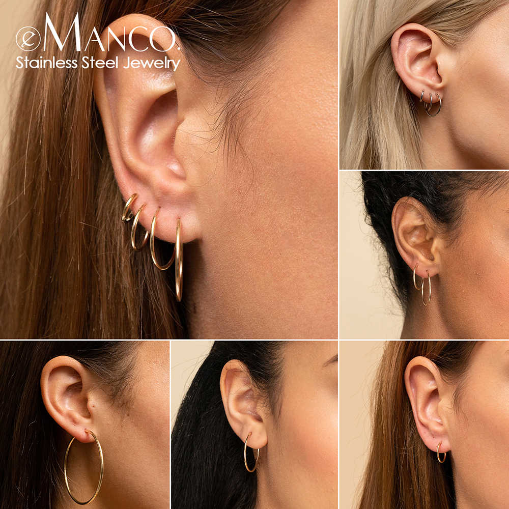 e-Manco big hoop earrings for women stainless steel hoop earrings	large ear rings huggie circle earrings fashion jewelry