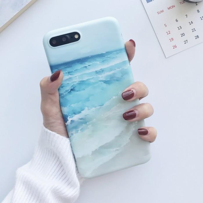 Galleria fotografica Blue Sea Waves beach painted TPU case for iphone 7 7Plus IMD Ocean TPU Case For iphone X 6 6s 6plus 6splus 8 8plus back cover