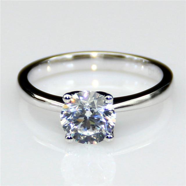 Lasamero 1 Ct Moissanites Color Ef Gemstone 9k White Gold Flower Solitaire Ring Wedding Rings Engagement