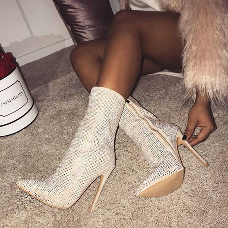 2020 Fashion Vrouwen 11.5 Cm Hoge Hakken Fetish Kristal Sok Laarzen Stiletto Hakken Strass Enkellaars Scarpins Prom Puntige Schoenen
