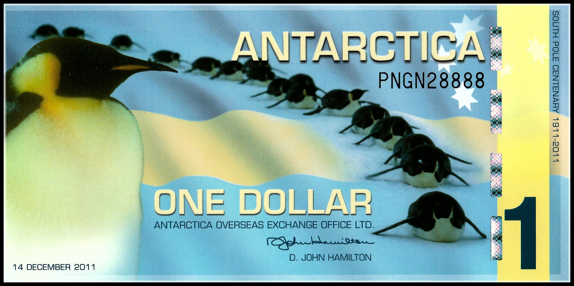 Антарктика, 1 доллар, пластиковая банкнота, 2011 оригинальная коллекция банкнот, оригинальные настоящие бумажные банкноты, купюр, банкноты, по...