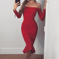 2019 New Arrival Women Sexy Long Sleeve Slash Neck Trumpet Bandage Dressess Elegant Cocktail Vestidos Party Dress