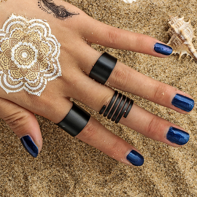 2018 Trendy Black Cool Punk Ring Set 3pcs Mental Fashion Knuckle Rings for Women