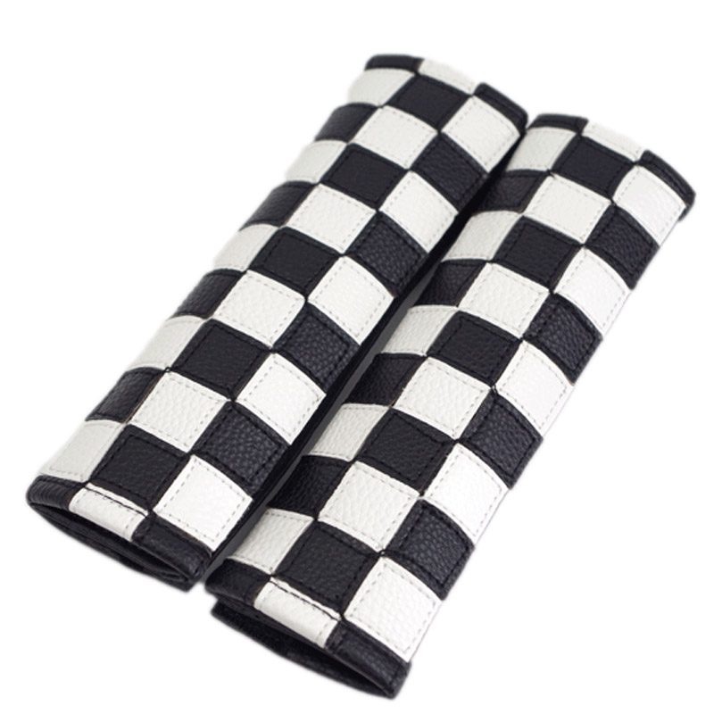 car Checkered pu leather shoulder pads for mini cooper s r55 R56 R60 F54 clubman accessories (fits all cars)