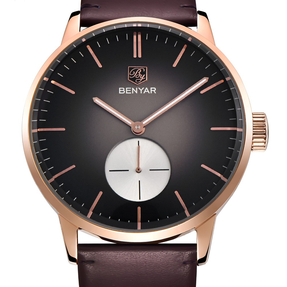 Relogio Masculino BENYAR Fashion Mens Watches Top Brand Luxury Stainless Steel Case Genuine Leather Quartz Watch Reloj Hombre relojes hombre 2017 mens watches top brand luxury carnival simple relogio automatico masculino dress stainless steel gift clock