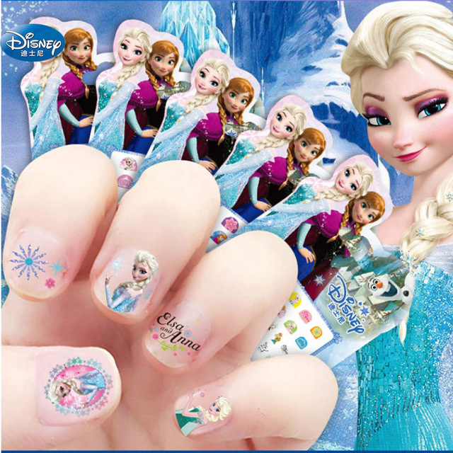 5 Pcs/lot Frozen Elsa And Anna Snow Queen  Nail Stickers Toy  Disney Princess Mickey Snow White Sofia Girl  Makeup Toy