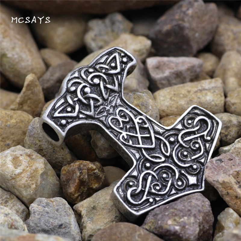 MCSAYS Norse Viking Jewelry Warrior Mjolnir Thor Hammer Pendant Silver Color Punk Necklace Amulet Jewelry 1SL