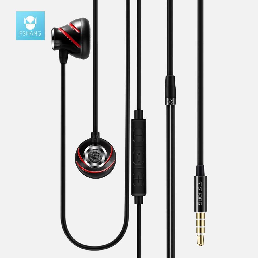 FSHANG Original In-Ear Bass Earphone Metal Gold Plated Earpods With MIC Microphone Earphones Auriculares Airpods Phone DJ music