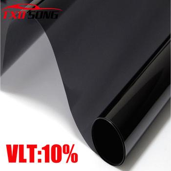 50CM X 300 CM LOT czarny 10 wysokiej jakości czarna strona folia przeciwsłoneczna na okno do domu okno słoneczna ciemny czarny folia na okna samochodu tanie i dobre opinie TXDSONG 80 -100 60 -80 300cm Rohs Black window solar film 0 2kg Anti-uv Flexible polymeric PVC Black 10 Przednia Szyba