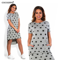 Fashion Print Star summer women dresses big sizes NEW 2017 plus size women clothing Knee-Length dress casual o-neck loose dress