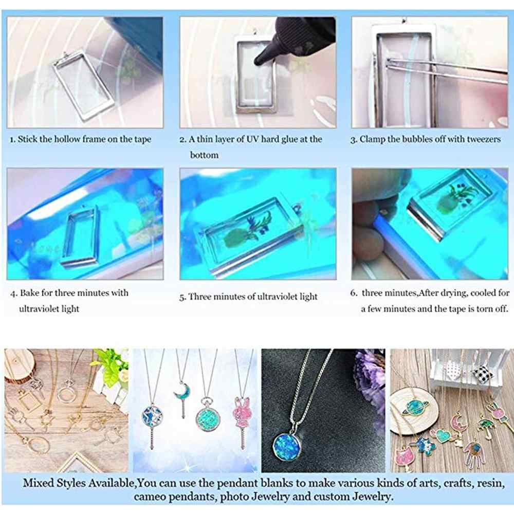 Llama giratoria resina UV DIY llavero colgante abierto bisel configuración joyería fabricación 2,5x2 cm