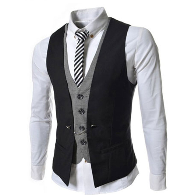 Fashion 2015 Slim Mens Waistcoat Casual Vest V-Necked Dress Classic Men Suit Vest Business Jacket Tops Double Breasted Vest Suit