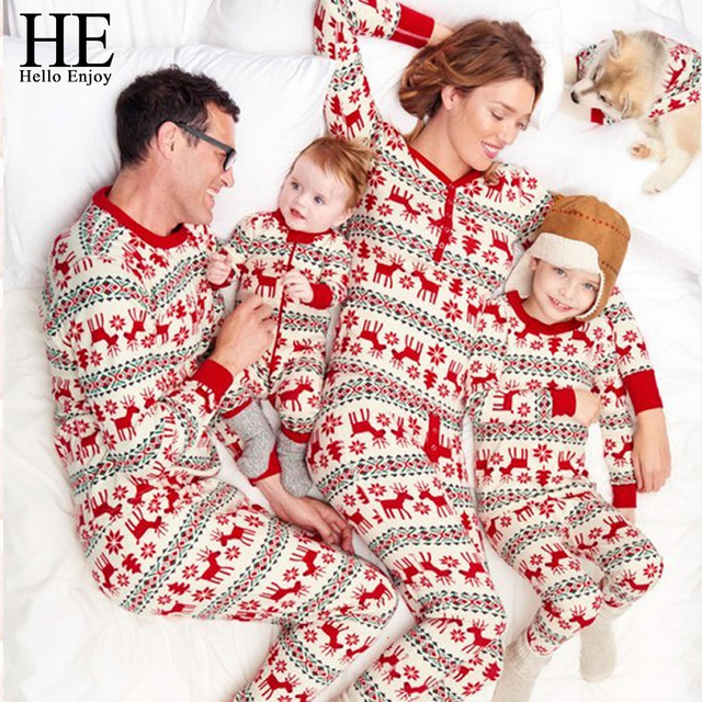 5be6346f6037 HE Hello Enjoy Christmas Pyjamas For Family Look Mom And Daughter Matching  Clothes Print Red Deer Father Son Sets New Year