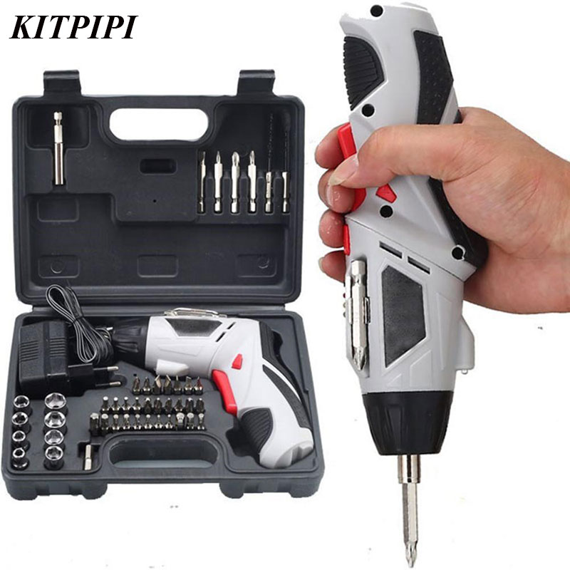 KITPIPI 45pcs Rechargeable Electric Screwdriver US Plug Hand Tools Cordless Screwdriver Rotatable Handle Screw Bits Suits Set 45pcs drills 4 8v cordless rechargeable reversible electric screwdriver tool set electric screwdriver with plastic case