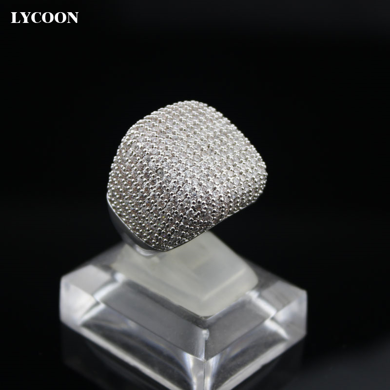 LYCOON Elegant square ring silver plated inlay AAA Cubic Zirconia luxury wedding rings woman graceful Engagement rings yoursfs brand luxury wedding engagement rings for women anel ballshape austria crystal 18 k rose gold plated aaa cubic zirconia g