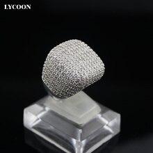 Elegante plaza anillo verdadero plateado platino embutido AAA Cubic Zirconia anillos de boda anillos de Compromiso de la mujer agraciada de lujo