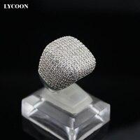 LYCOON Elegante praça anel de prata banhado inlay AAA luxo Cubic Zirconia anéis de Noivado anéis de casamento mulher graciosa