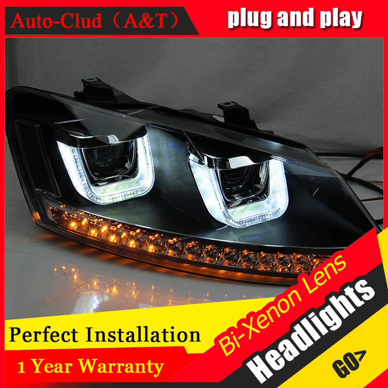 Auto Clud Car Styling for VW Polo Headlights 2009-2015 GTI LED Headlight DRL Bi Xenon Lens High Low Beam Parking Fog Lamp Access