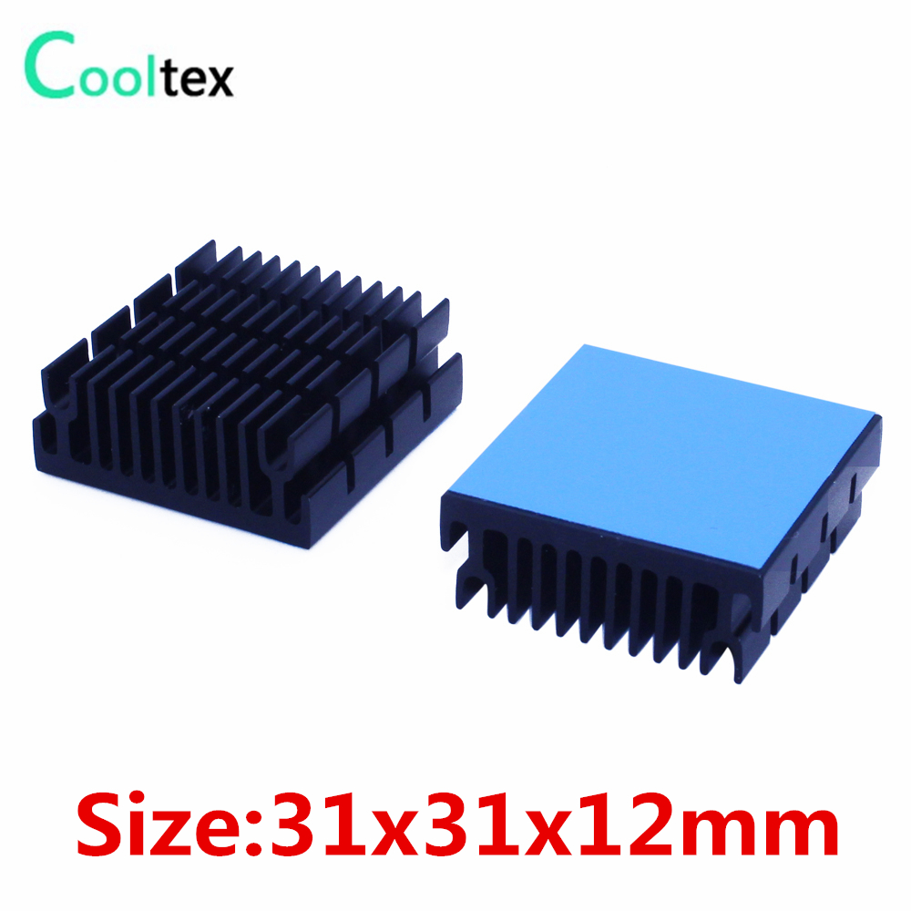 10pcs Aluminum Heatsink 31x31x12mm Heat Sink Radiator Cooling For Electronic Chip IC LED computer With Thermal Conductive Tape 20pcs lot aluminum heatsink 14 14 6mm electronic chip radiator cooler w thermal double sided adhesive tape for ic 3d printer