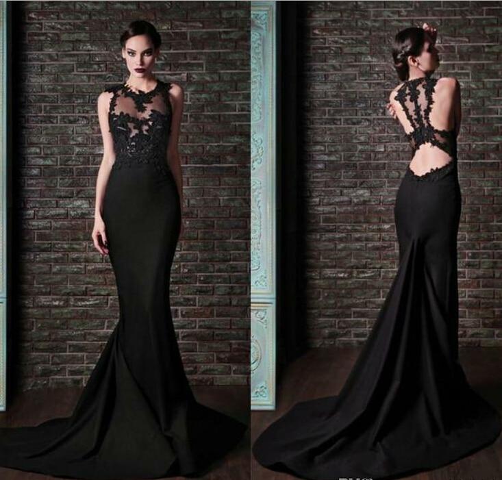 vestido de festa longo Sheer Top Round Neck Black Mermaid Evening Dress 2015 Satin Custom Made Formal Evening Gown For Women in Evening Dresses from Weddings Events