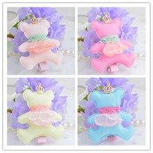 New arravals!!! Fashion baby gilrs cartoon bear hair clips with tiaras charms cute lace crown bear design hair barrettes 10pcs