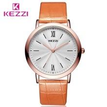 WristwatchesQomen KEZZI Relojes de Marca de Moda Los Hombres Correa de Cuero Relojes De Cuarzo Reloj Mujer Relogio