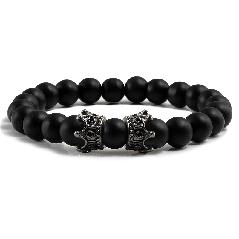 Men Black Lava Bracelet Natural Stone Beads Handmade Bracelets Bangles Women Golden Black Double Crown Bracelet Couple Jewelry bracelet