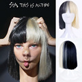 High Quality Women's Sia Wig Medium Long Half Black and Half Blonde Cosplay Party Wigs.Synthetic Hair Wig Free Shipping