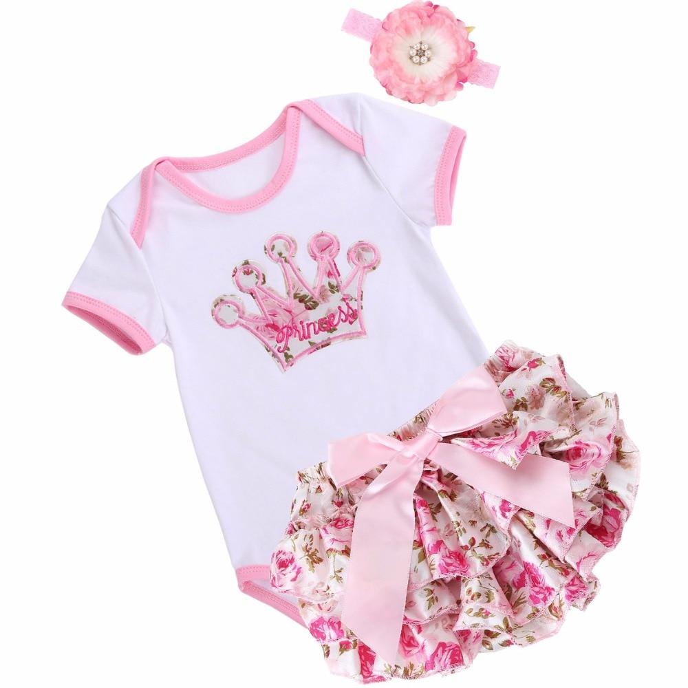 Unicorn Crown Infant Baby Girl Clothing Set Bodysuit Short