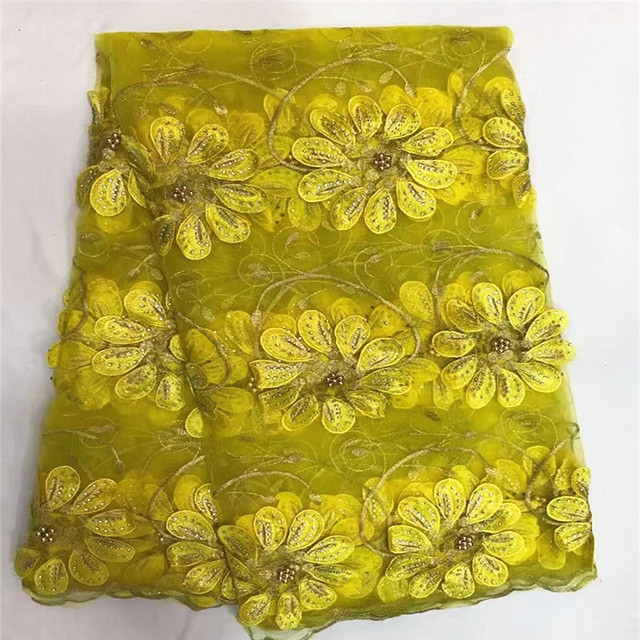 02b1ed011b9 Beads and stones yellow african applique lace fabric 2018 high quality lace  nigerian tulle lace styles for wedding dress ZQ4-4
