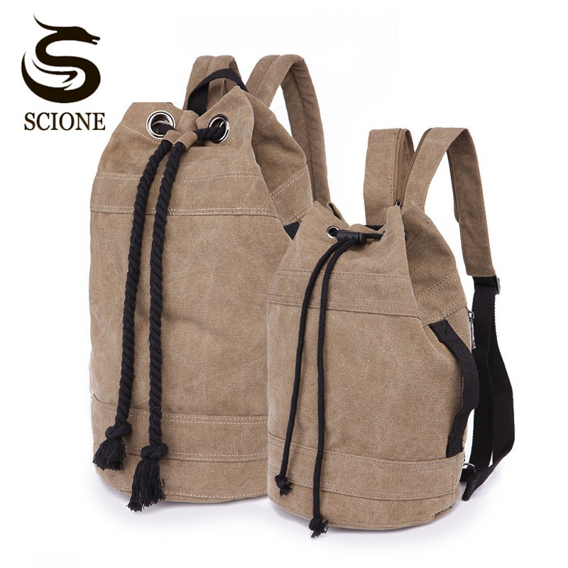 Scione Unisex Canvas Backpack 2 Different Sizes Bucket Drawstring Backpack Travel Luggage Bag Casual Men Laptop Rucksack Mochila