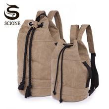 Scione Unisex Canvas Backpack 2 Different Sizes Bucket Drawstring Backpack Travel Luggage Bag Casual Men Laptop Rucksack Mochila