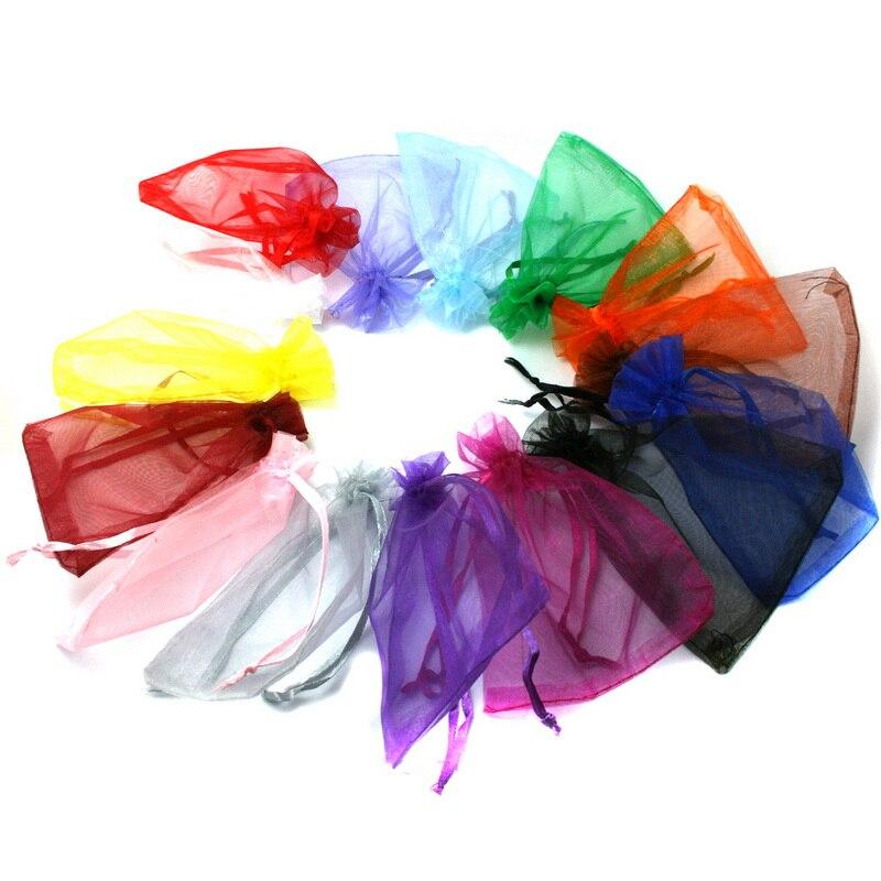 30 шт./лот, 7x9 см, 9x12 см, 10x15 см, 13x18 см, мешочки на шнурке из органзы, сумки для упаковки ювелирных изделий, вечерние свадебные подарочные сумки, м...