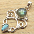 Blue Fire Stones, Shine From Every Angle !  Silver Plated LABRADORITE Pendant