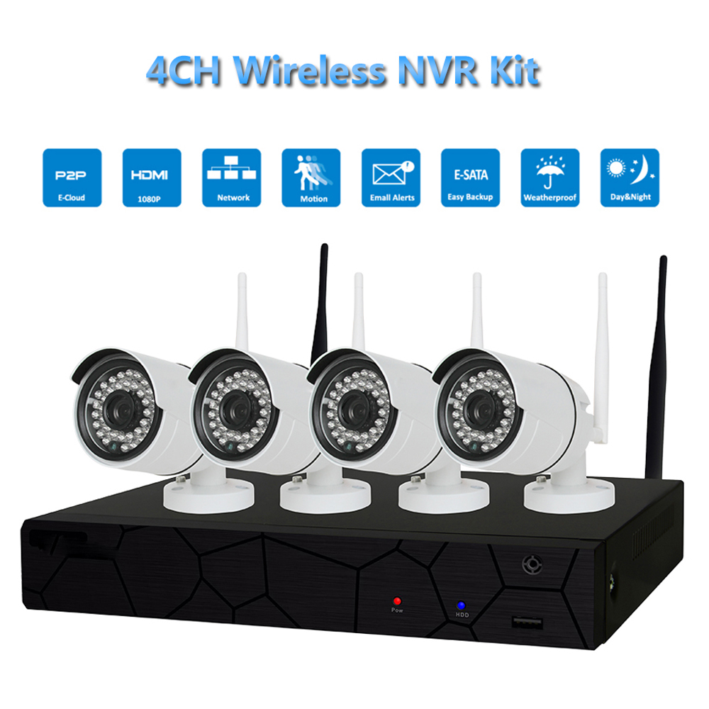 PUAroom 4CH IP Full HD IP66 waterproof security camera system with RoHS FCC CE approved H.264 NVR best diy home security system