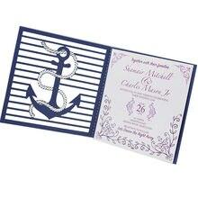 Atacado corte A Laser papel da pérola azul marinho padrão Música cartão do convite para o casamento decoração suprimentos