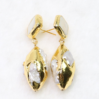 3 Pairs Electroplated olive pearls earrings Gold color plated pearl earrings fashion jewelry gift for lady wholesale 6028