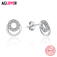 Real 925 Sterling Silver Stud Earrings For Women Cubic Zircon Crystal Round Earring Fashion Wedding Jewelry Gift