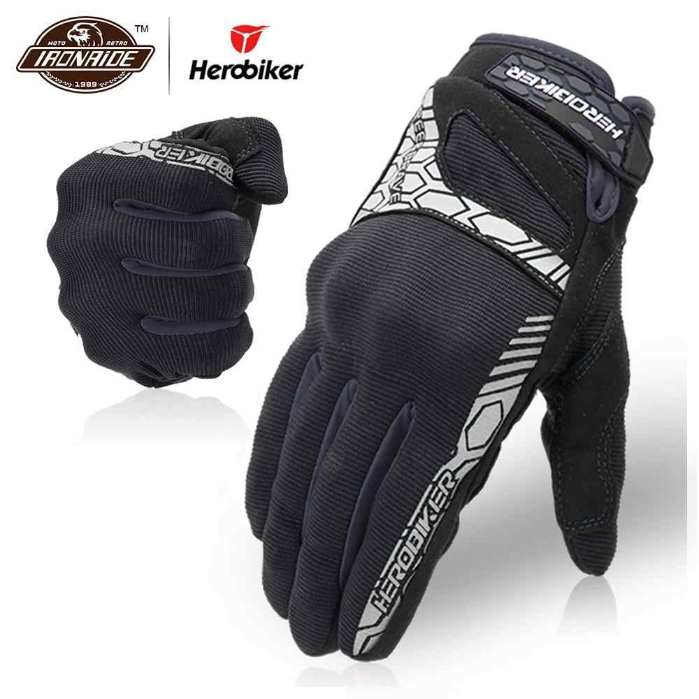 HEROBIKER オートバイ手袋男性 Guantes モトタッチスクリーンモトクロス手袋保護ギア Motocicleta フルフィンガーグローブ