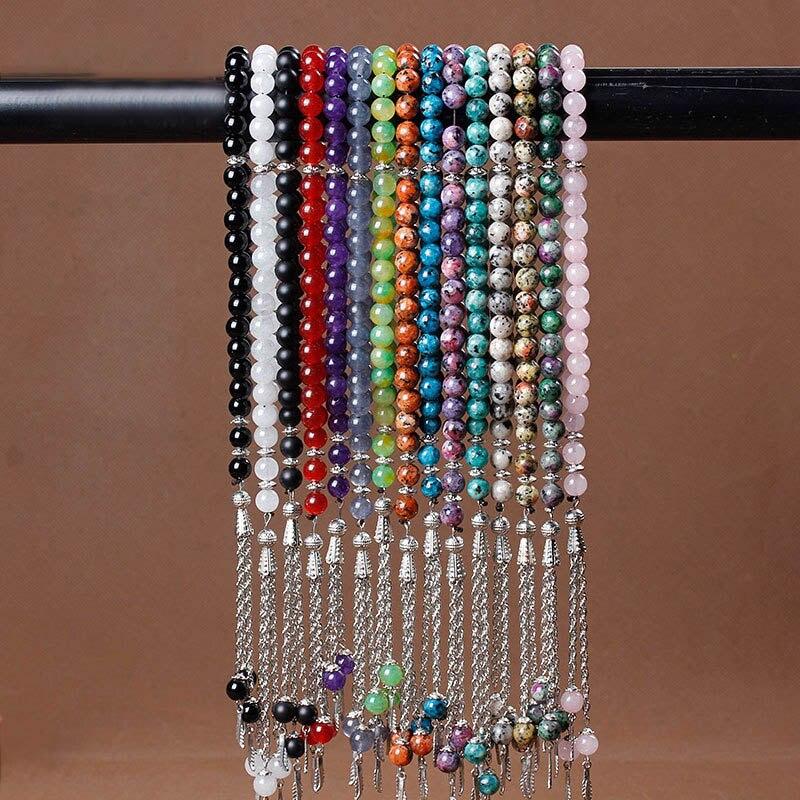 8mm Natural Stone Black Agates Bead Tassel Pendant 33 Prayer Beads Islamic Muslim Tasbih Allah Mohammed Rosary For Women Men