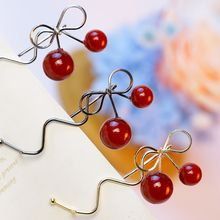 Sweet Women Girls Hair Clip Barrettes Red Cherry Bow Knot Hairpins Twist Ornaments Accessories Fashion Alloy Headdress