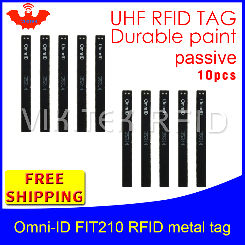 UHF RFID anti metal tag omni-ID fit210 915m 868mhz Alien H3 10pcs free shipping durable paint long and thin passive RFID tags 1000pcs long range rfid plastic seal tag alien h3 used for waste bin management and gas jar management